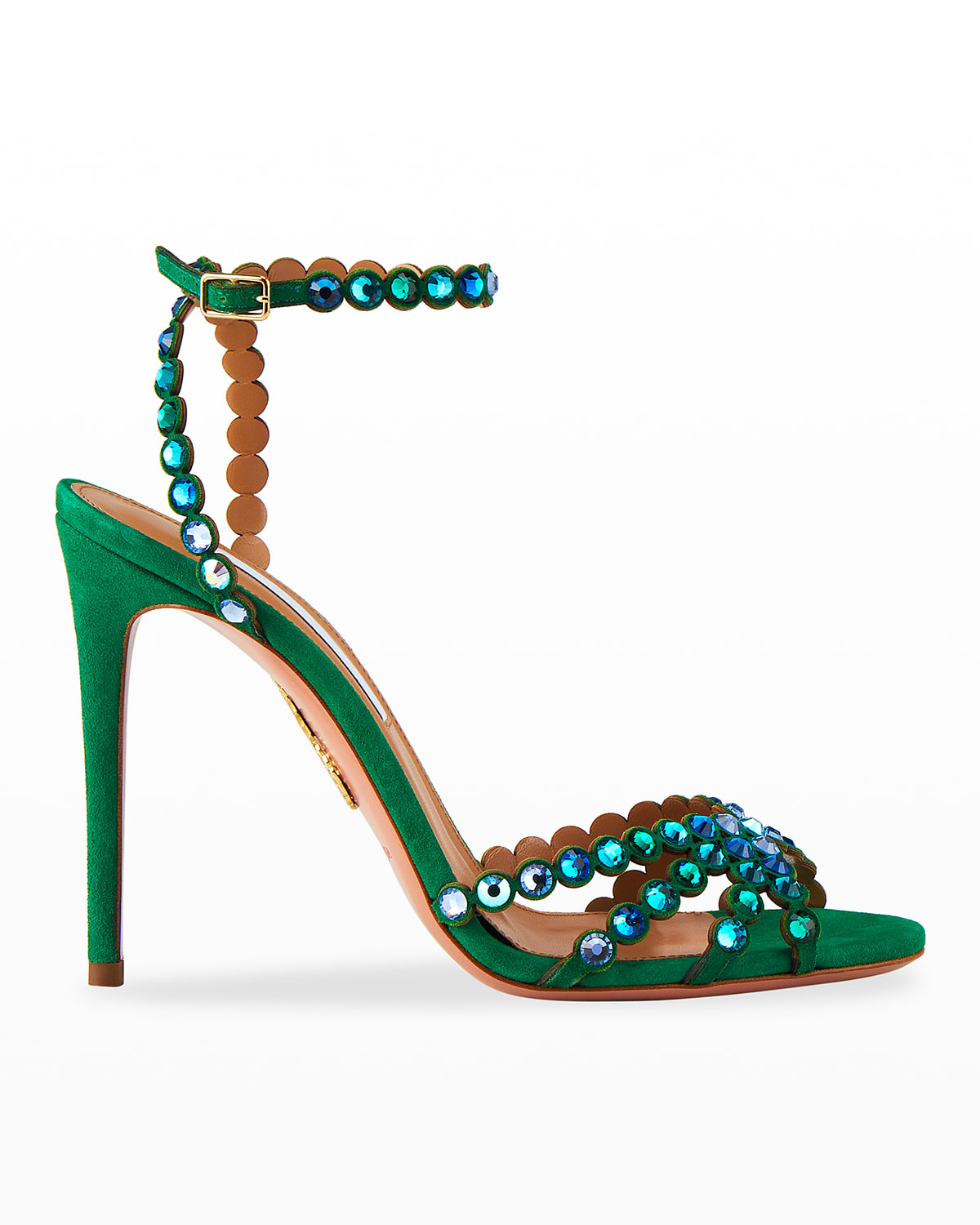 Tequila Crystal Suede Stiletto Sandals