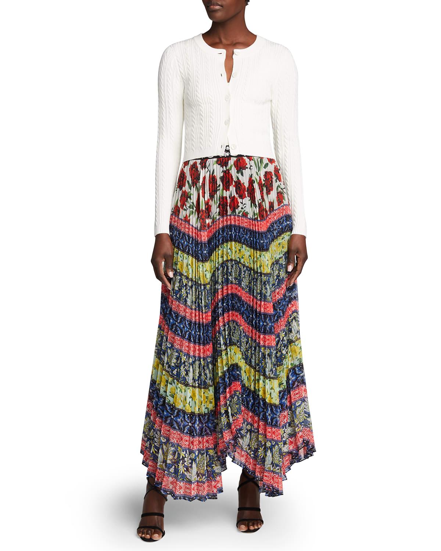 Katz Embroidered-Waistband Pleated Maxi Skirt