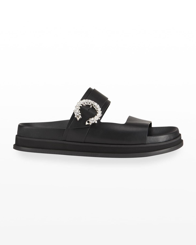 Marga Crystal-Buckle Slide Sandals