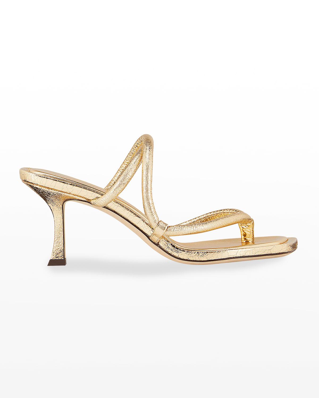 Cape Metallic Strappy Slide Sandals