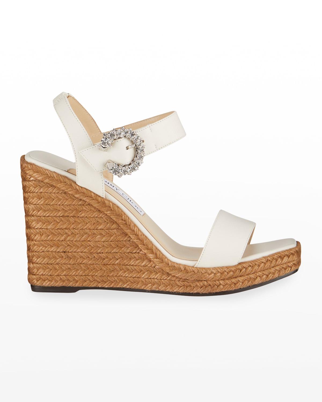 Mirabelle Crystal-Buckle Wedge Sandals