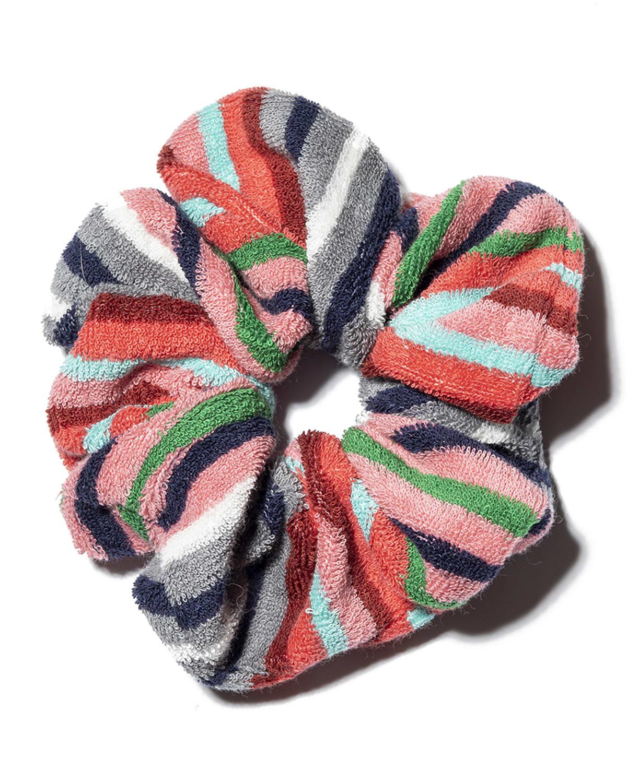 Oversized Striped Seersucker Scrunchie