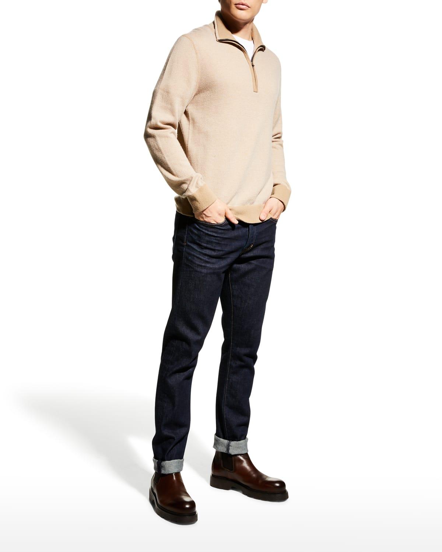 Men's Birdseye Quarter-Zip Pullover Sweater