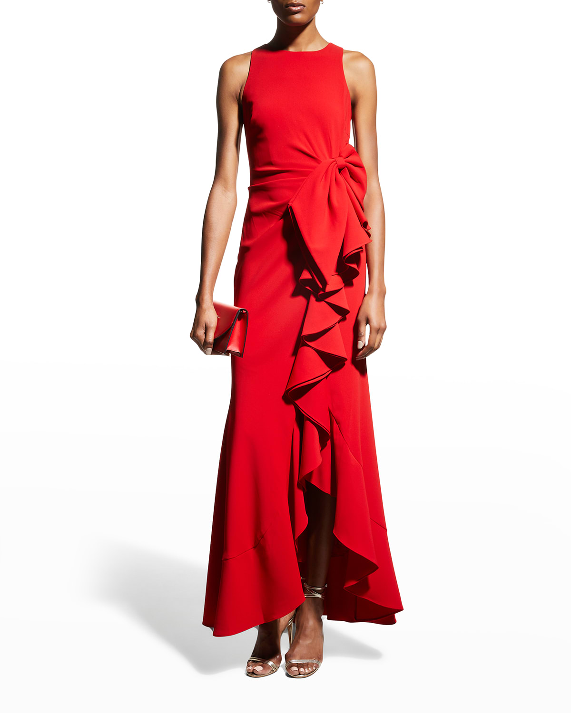 Odessa Asymmetric Ruffle-Skirt Crepe Gown