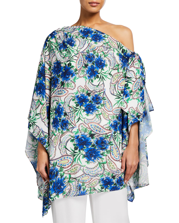 Off-Shoulder Floral Paisley Bow Top