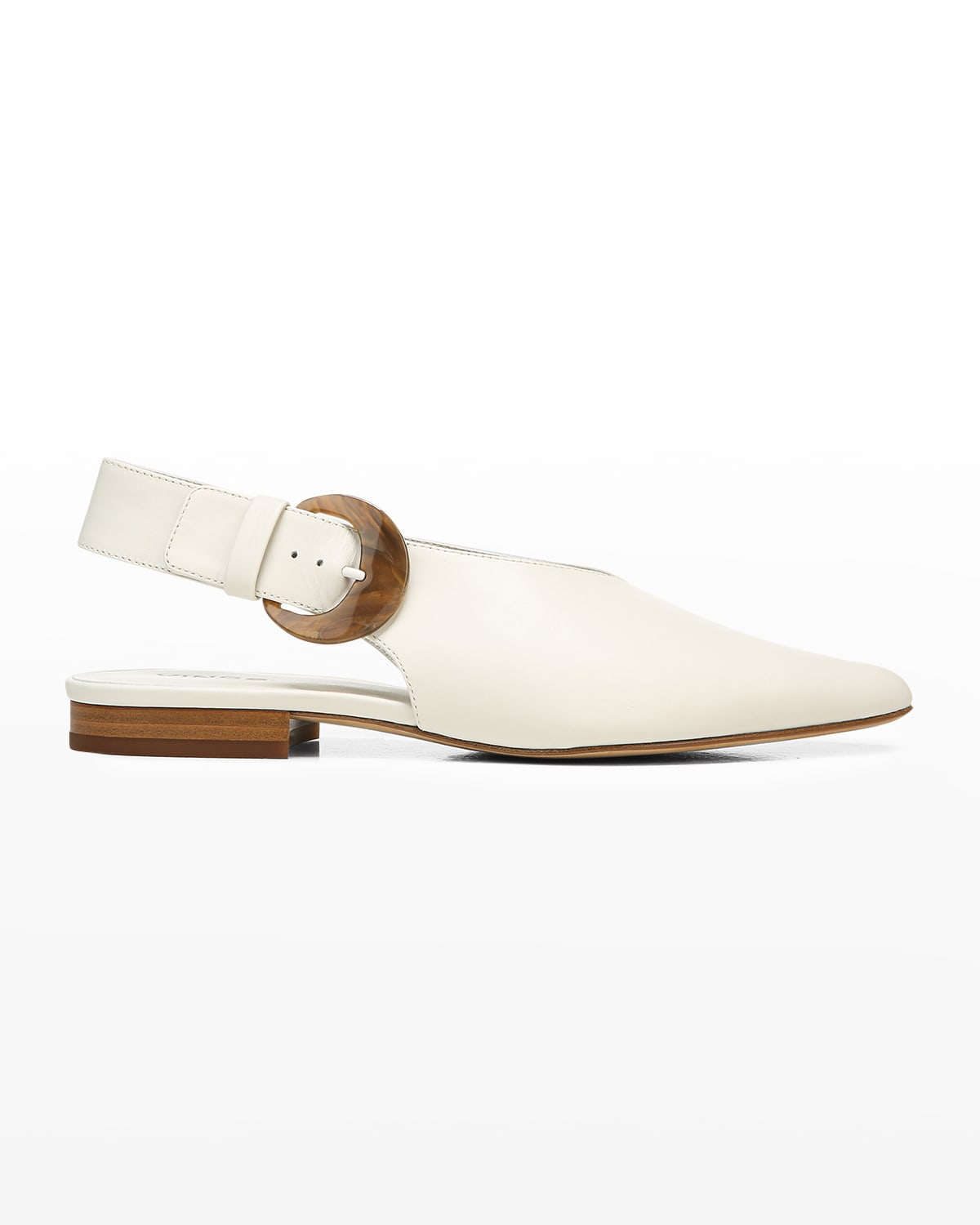 Cecily Pointed Leather Buckle Flats