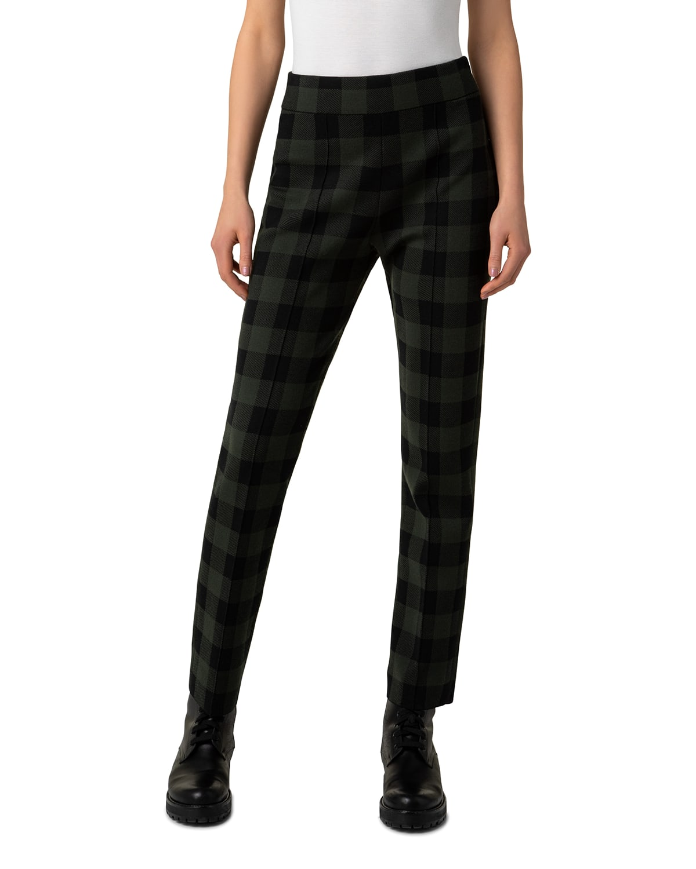 Milano Checkerboard Plaid Tapered Knit Pants