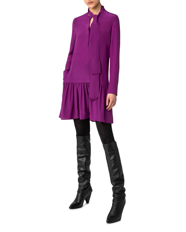 Tie-Neck Silk Mini Shift Dress