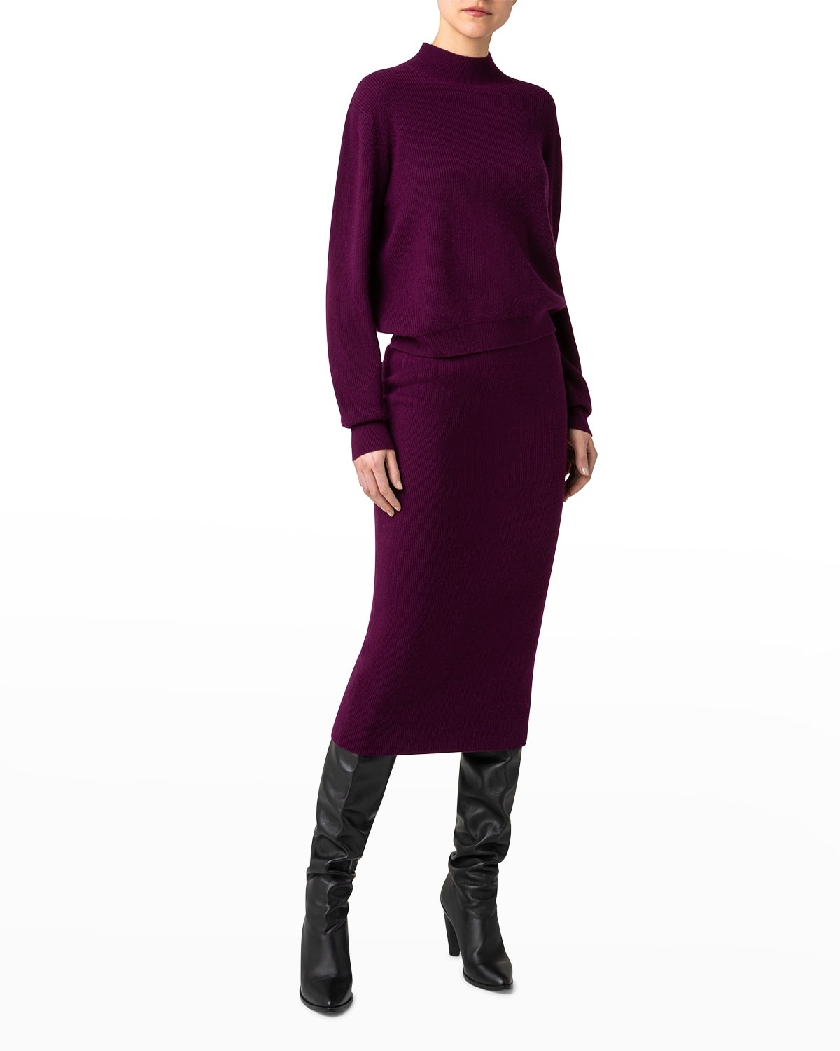Mock-Neck Cashmere-Wool Sweater