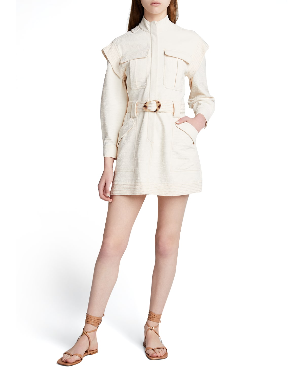Daniella Textured Open-Back Utility Dress