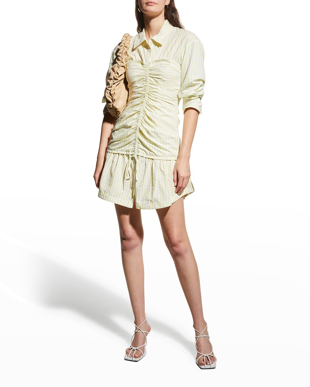 Delanie Ruched Jacquard Mini Dress
