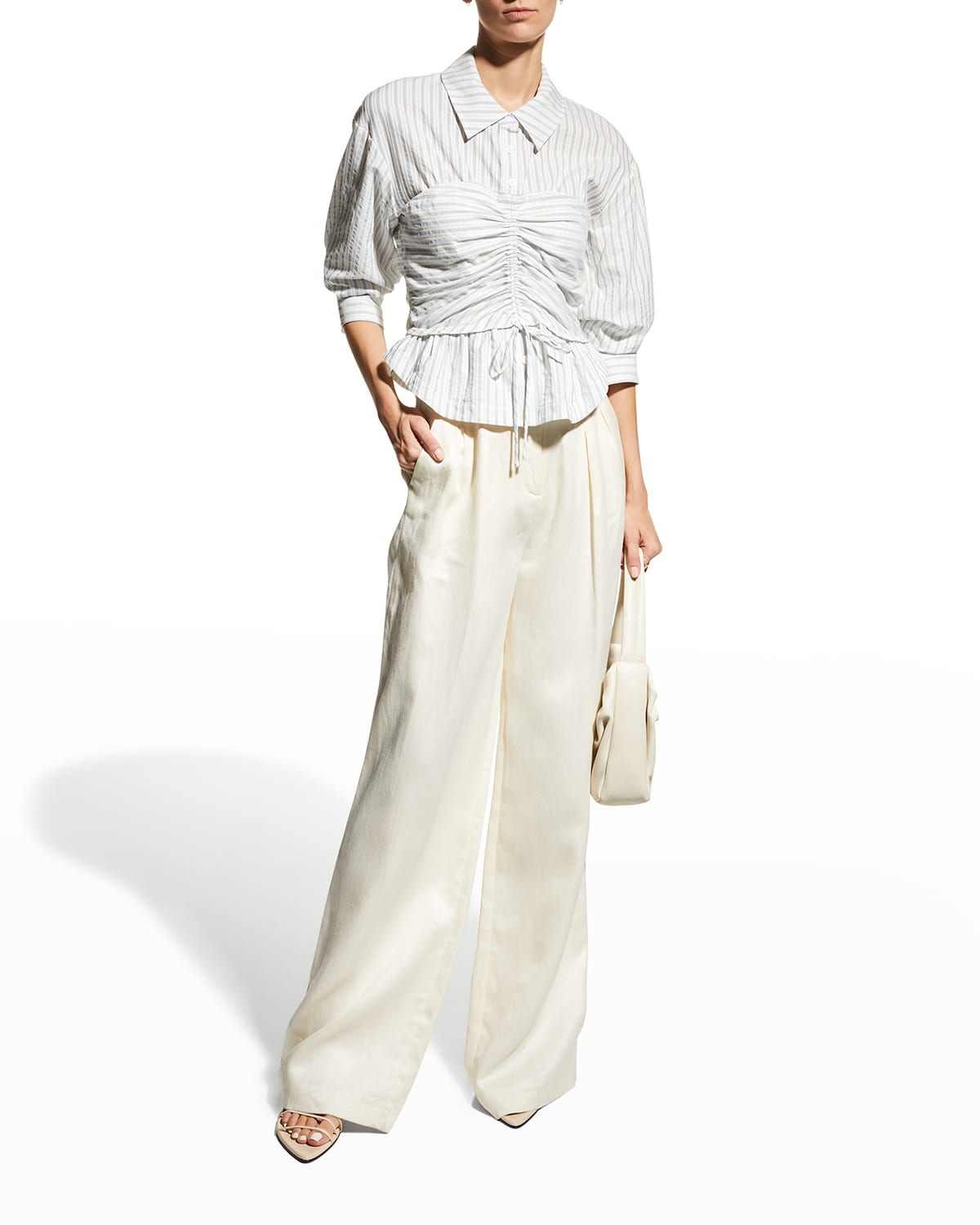 Sonya Ruched Cotton Jacquard Top