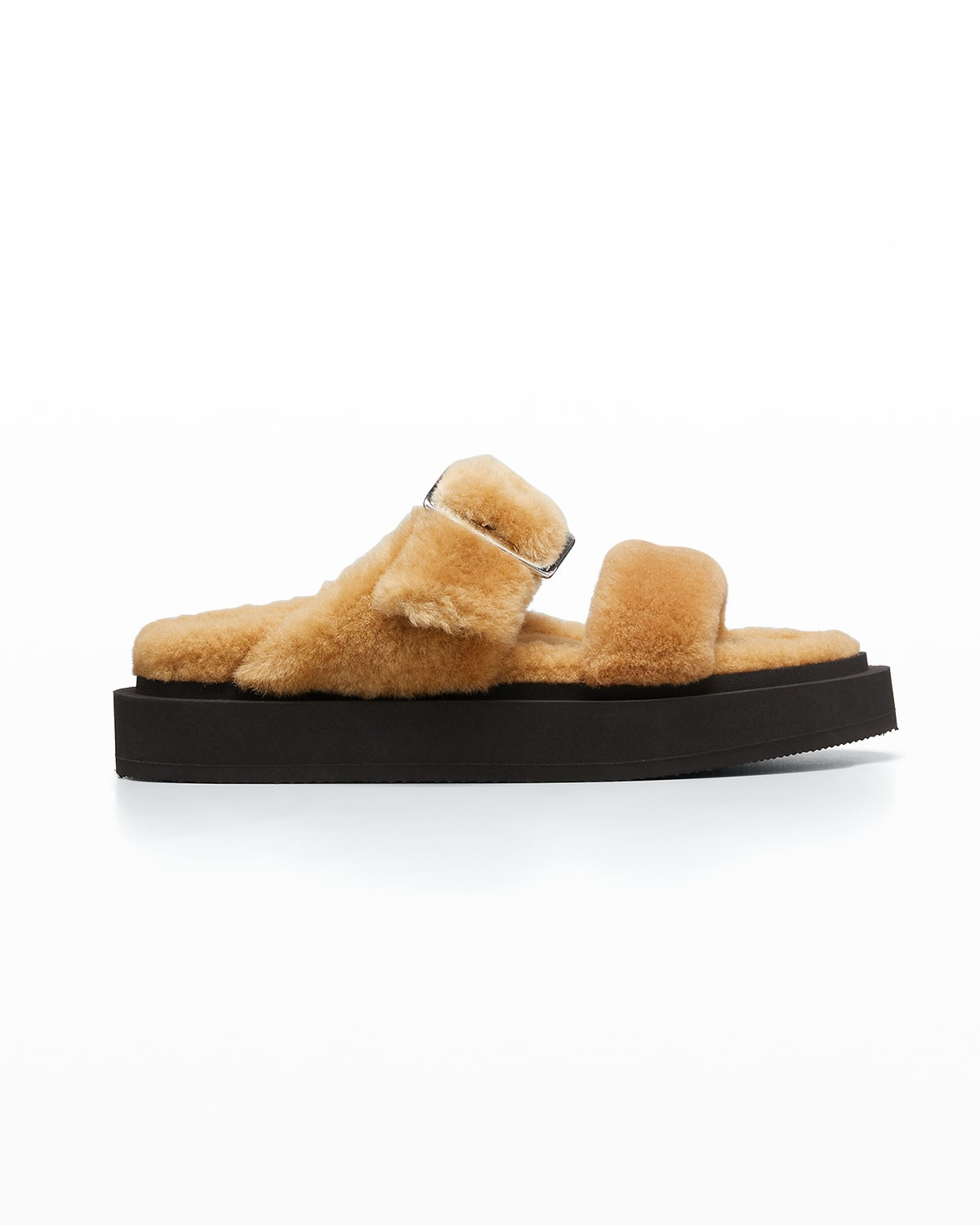 Shearling Two-Band Slide Sandals