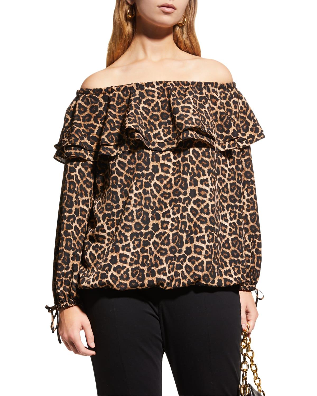 Plus Size Nubian Leopard Off-Shoulder Ruffle Peasant Top