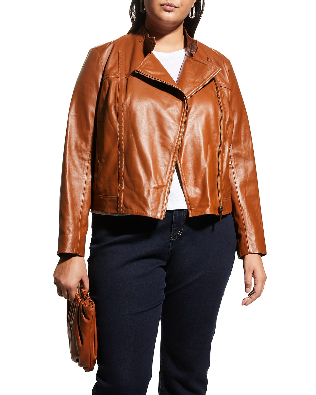 Plus Size Leather Moto Jacket