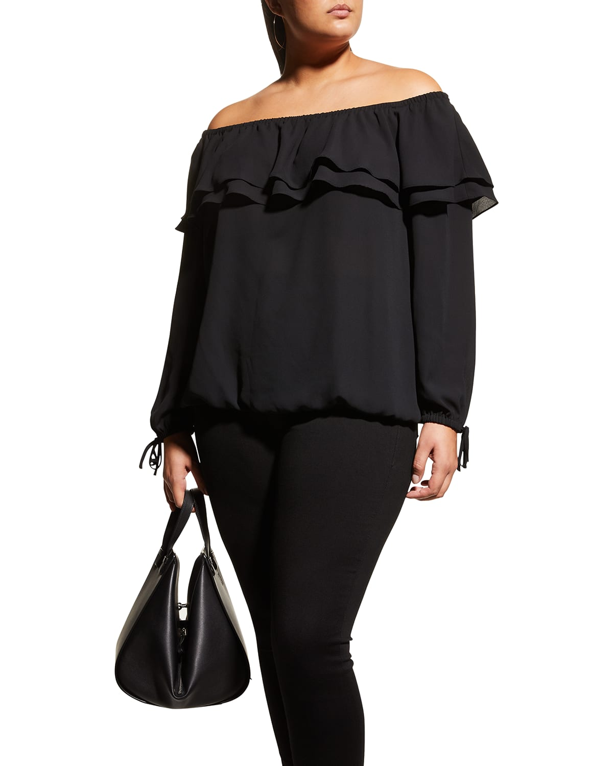 Plus Size Tiered Ruffle Off-Shoulder Peasant Top
