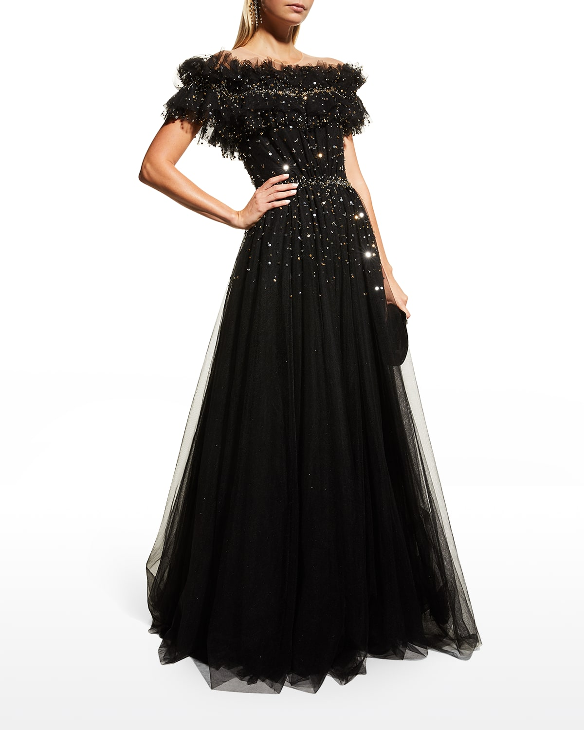 Ruffle Off-Shoulder Illusion Gown