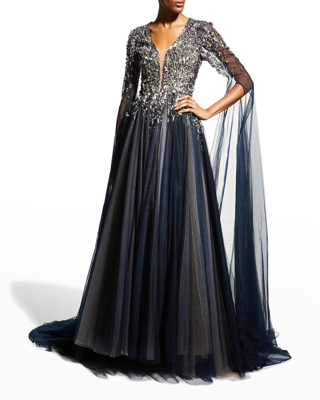 Crystal-Embellished V-Neck Gown