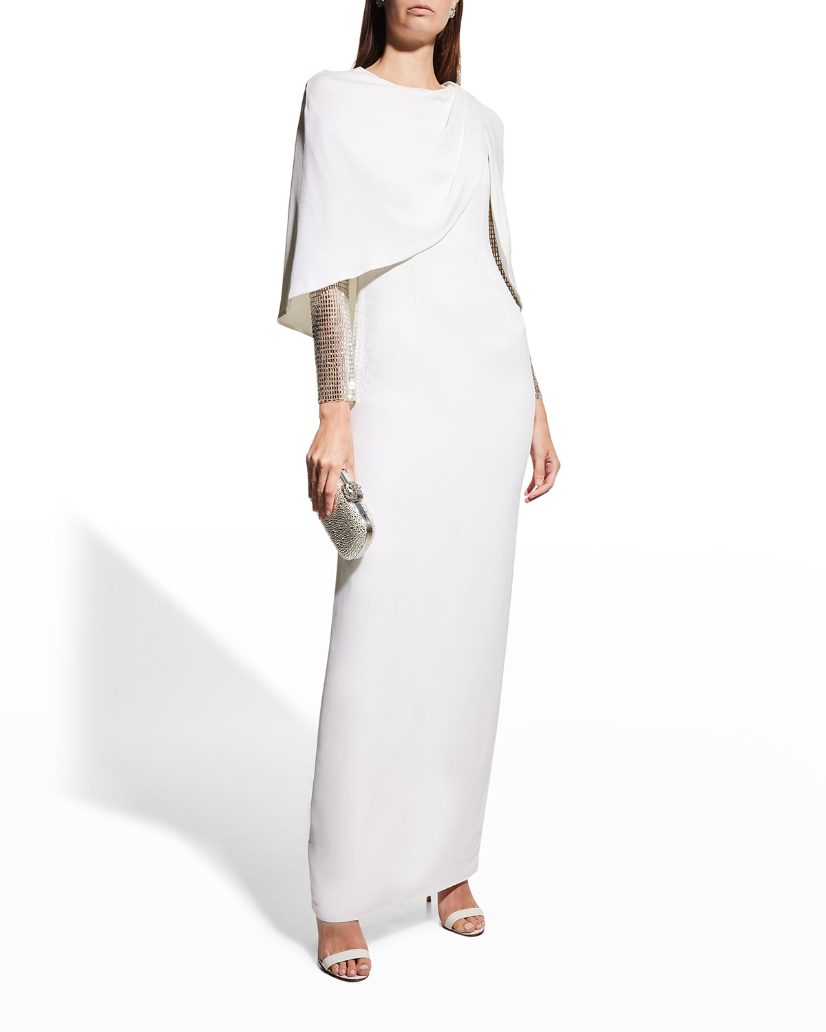 Embroidered-Sleeve Cape Column Gown