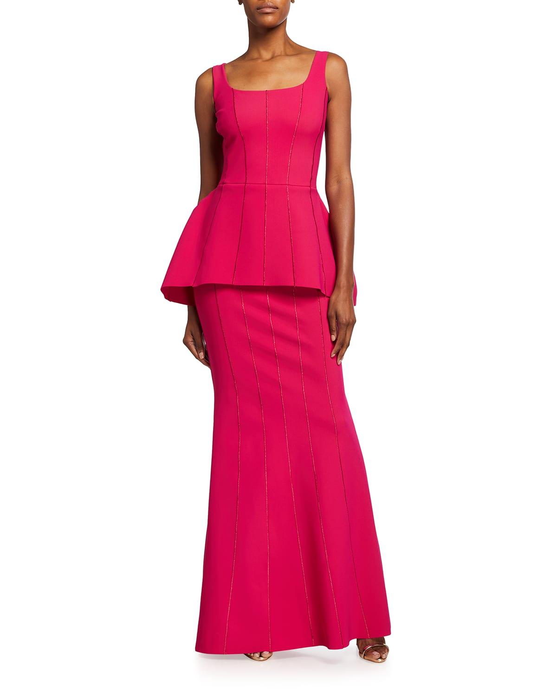 Vanita Sleeveless Peplum Gown