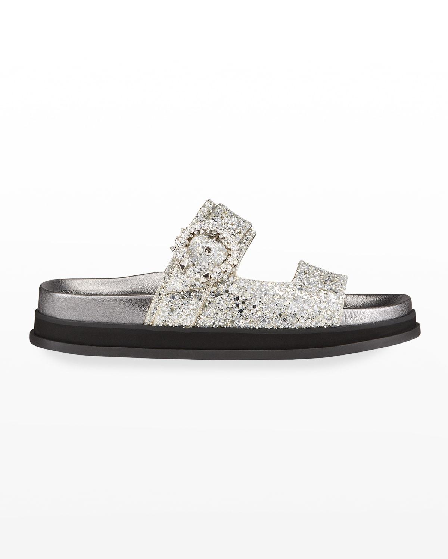 Marga Glitter Crystal-Buckle Slide Sandals