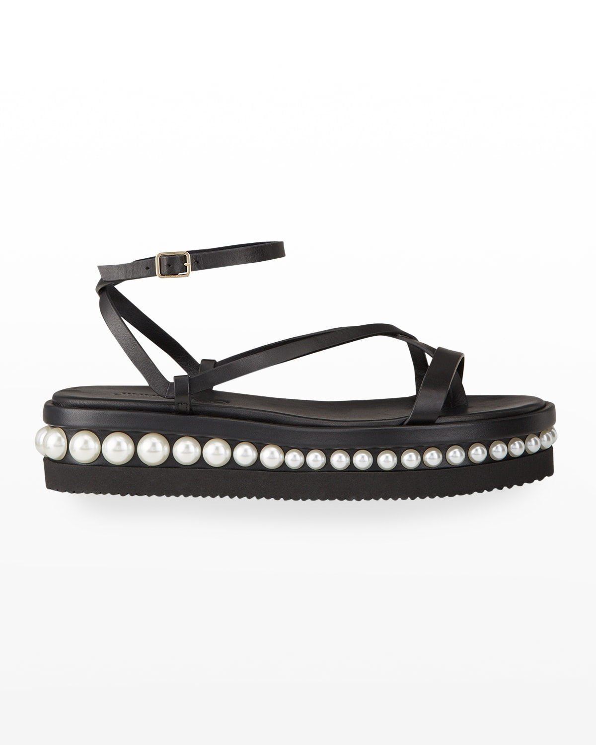 Pine Pearly-Stud Strappy Flatform Sandals