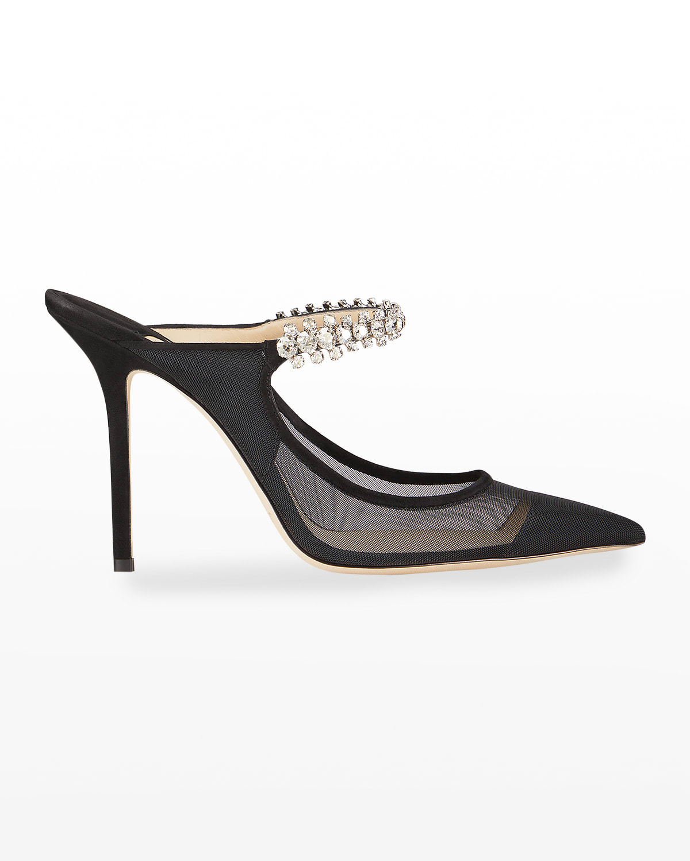 Bing Mesh Crystal-Strap Stiletto Mules