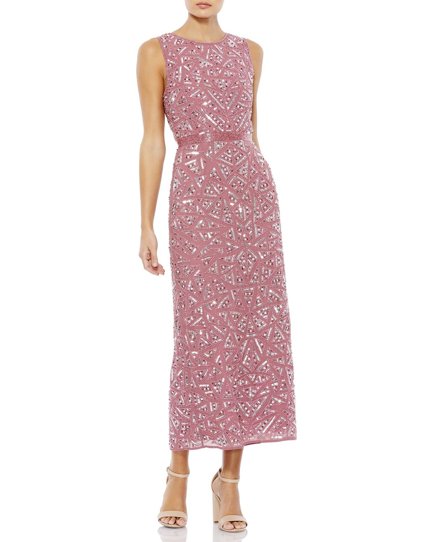 Sequined Jewel-Neck Sheath Dress