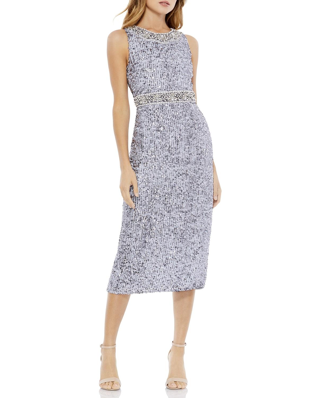 Jewel-Neck Sequin Midi Sheath Dress