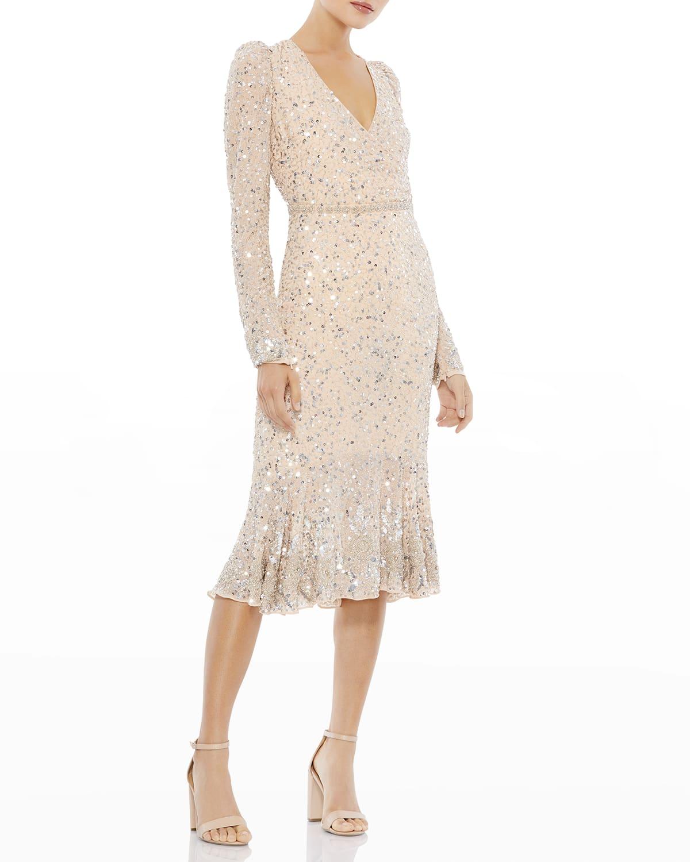 Sequin V-Neck Long-Sleeve Sheath Dress
