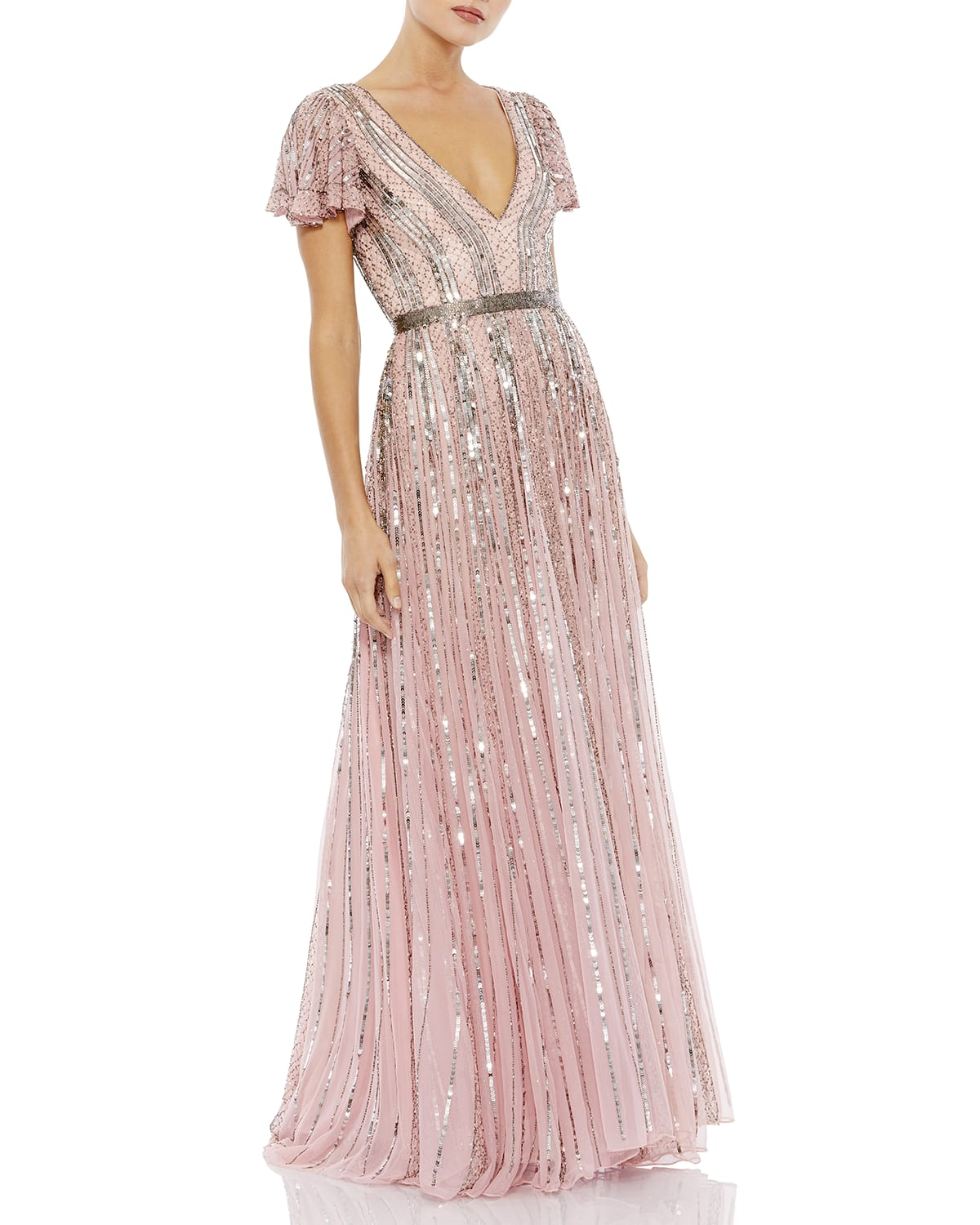 Sequin Striped Butterfly-Sleeve A-Line Gown