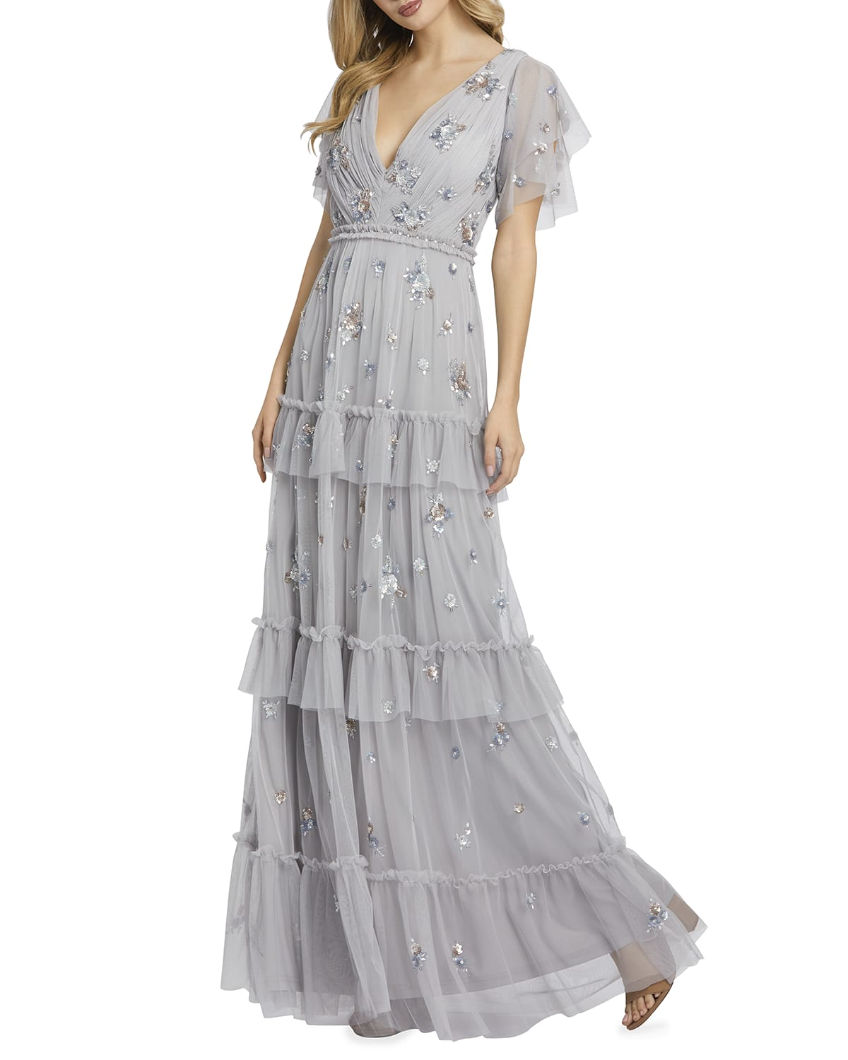 Sequin-Embellished V-Neck Ruffle-Tiered Gown