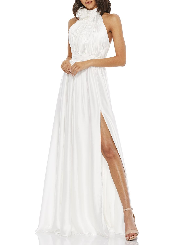 Rosette Halter-Neck A-Line Gown