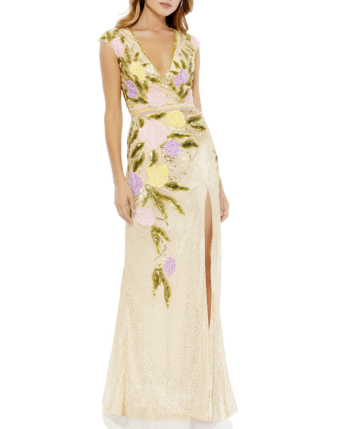 Cap-Sleeve Bugle Bead Sequin Floral Gown
