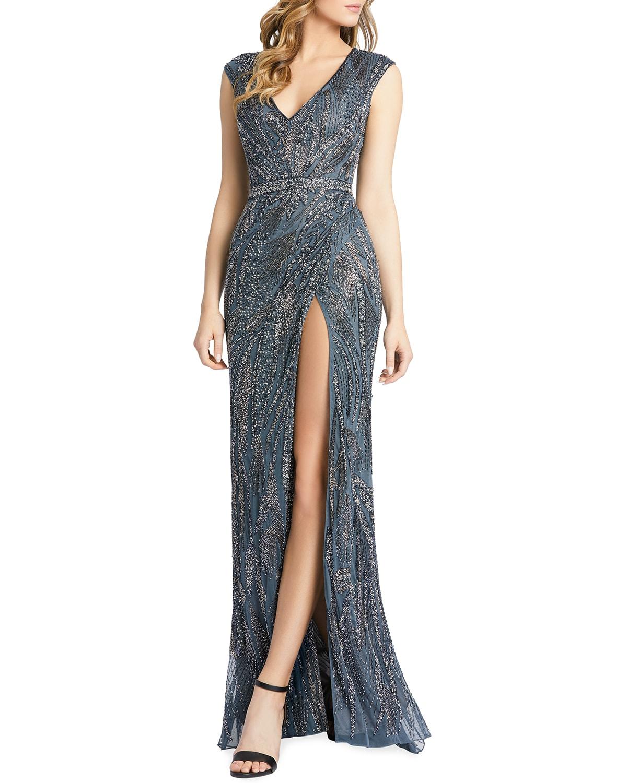 Bugle Beaded Cap-Sleeve Thigh-Slit Gown