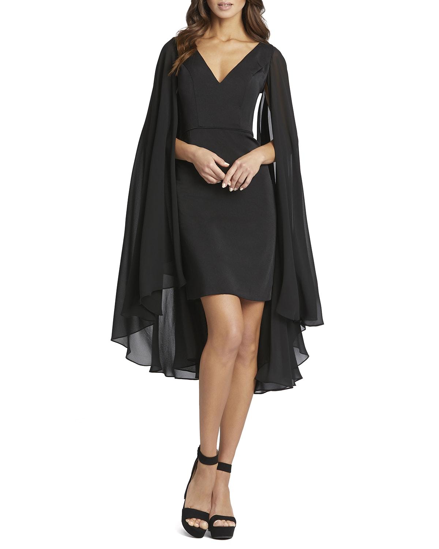 Chiffon-Cape Sheath Dress