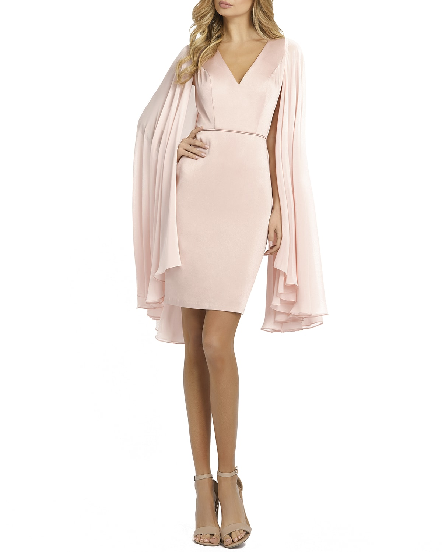 Ieena for Mac Duggal Chiffon-Cape Sheath Dress