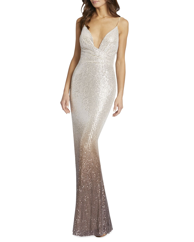 Ombre Sequin Column Gown