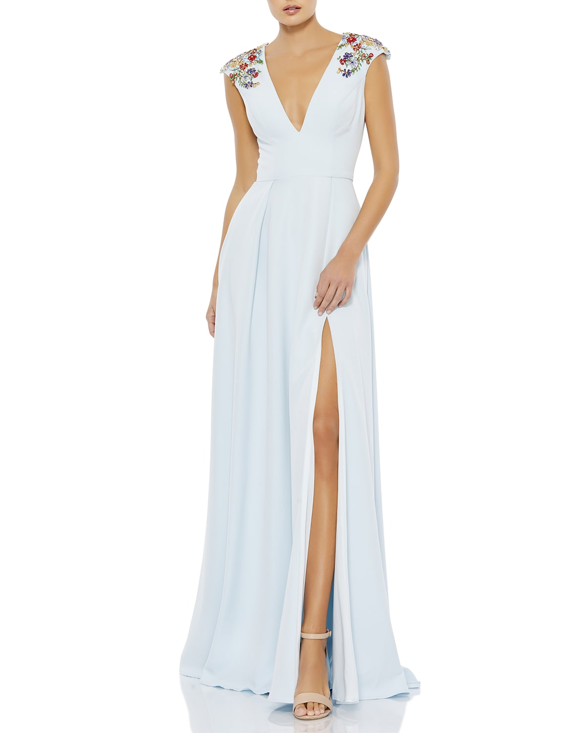Floral Beaded Plunging A-Line Gown