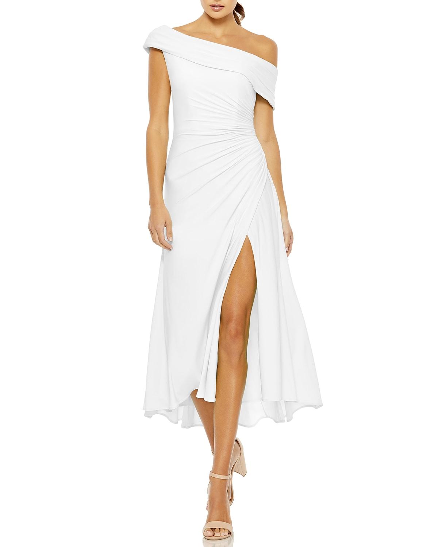 Off-the-Shoulder Midi Thigh-Slit Dress