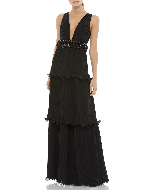 V-Neck Sleeveless Tiered A-Line Dress