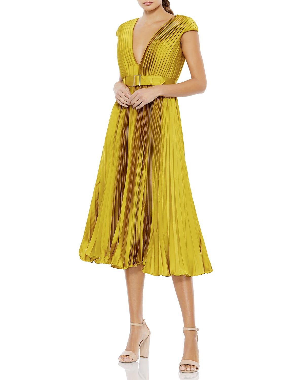 Deep V-Neck Pleated Midi Dress w/ Belt