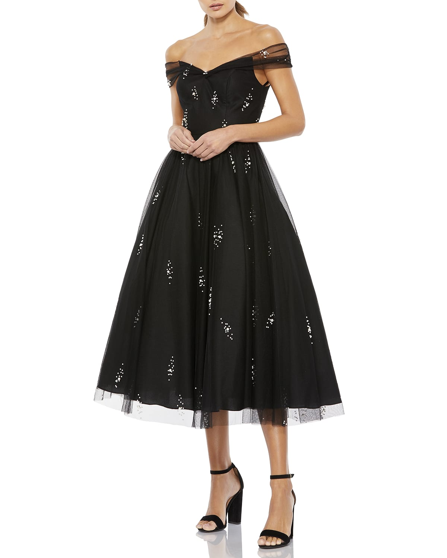 Pearl Bead Off-the-Shoulder Midi Dress