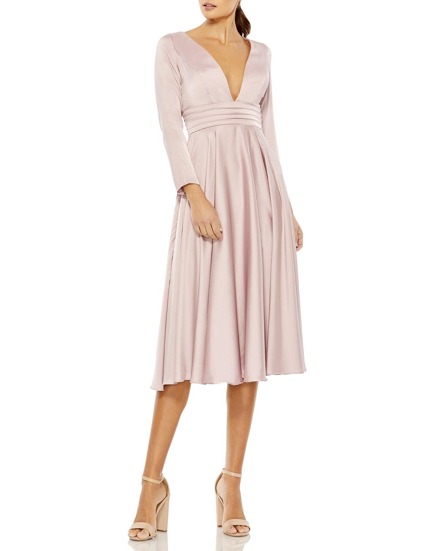 Long-Sleeve Pleated Satin Midi Dress