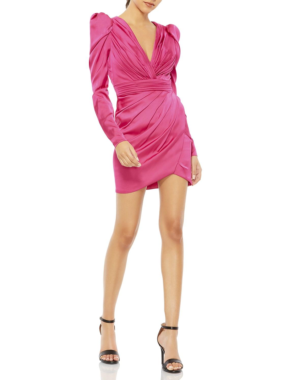 Puff-Sleeve Satin Mini Dress