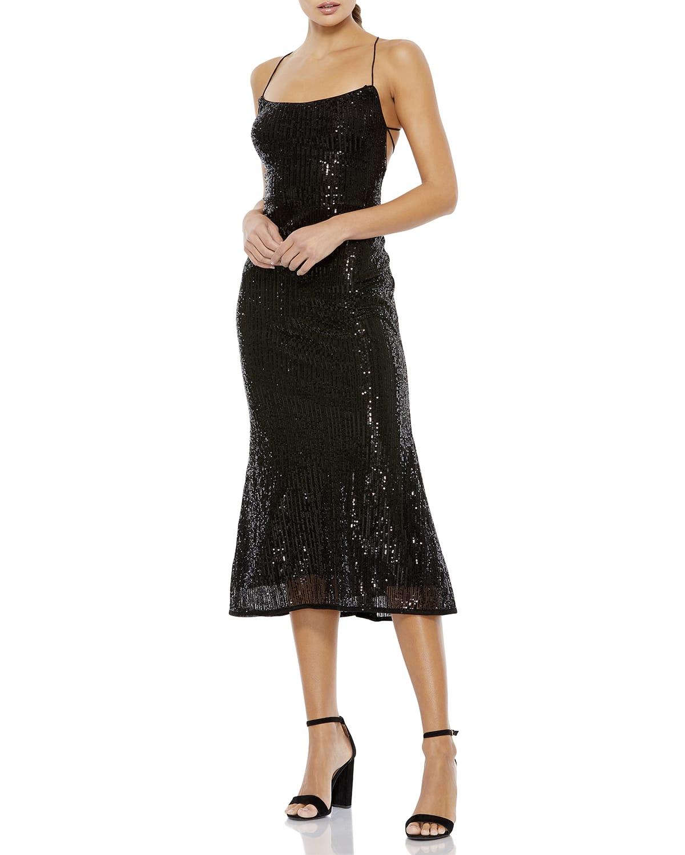 Corset-Back Sequin Midi Dress
