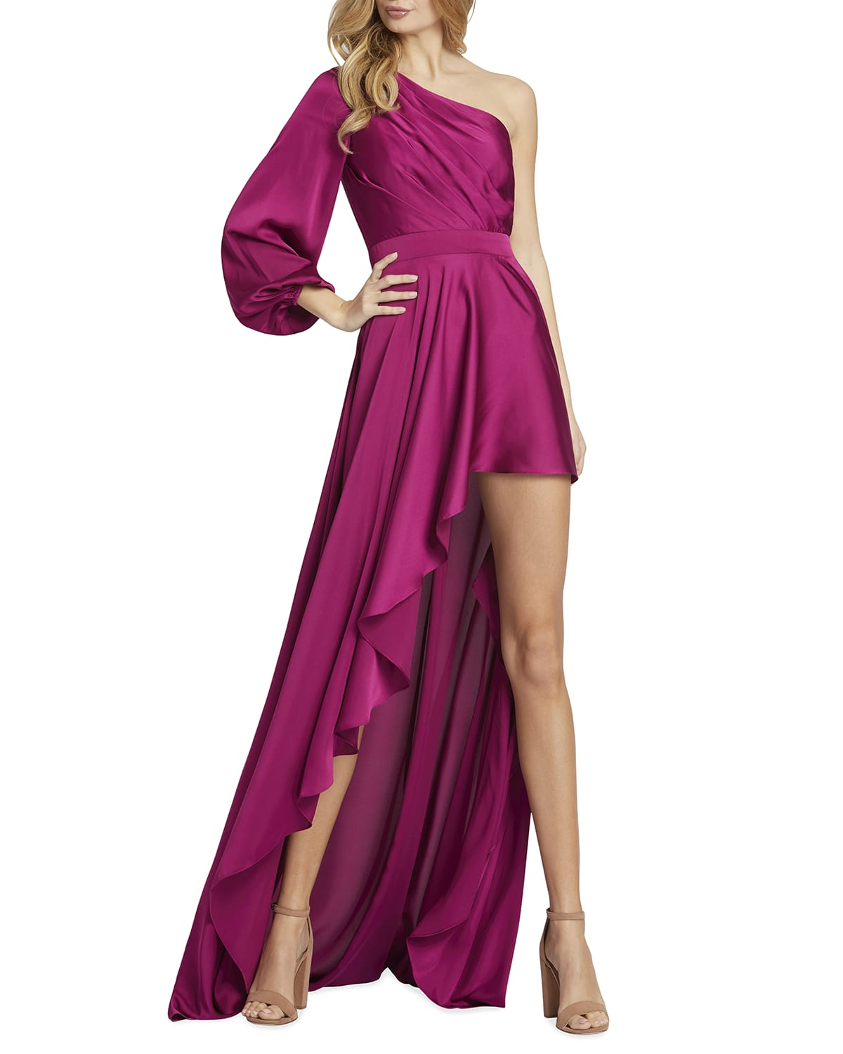 One-Shoulder Long-Sleeve High-Low Gown