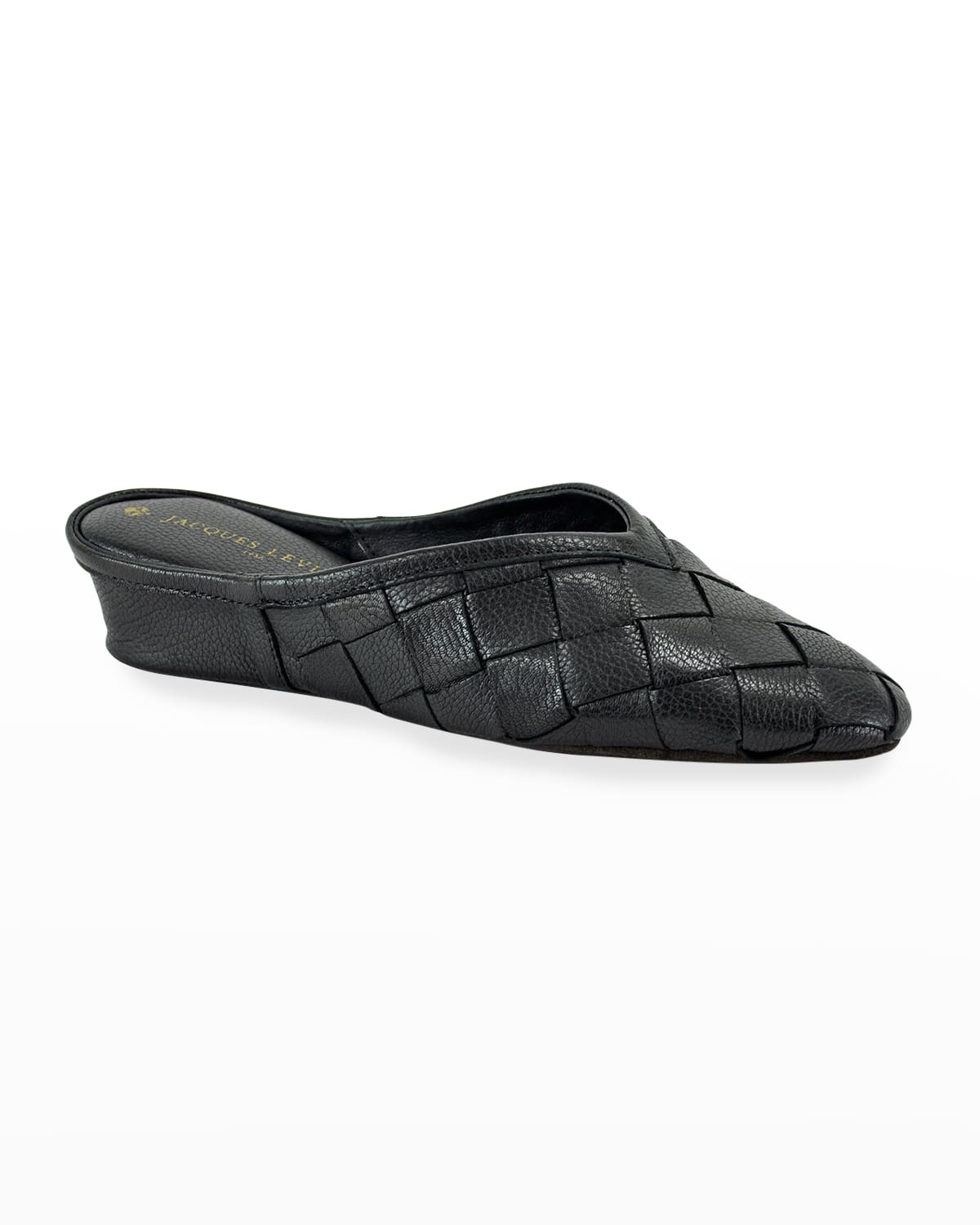 Woven Leather Wedge Slippers