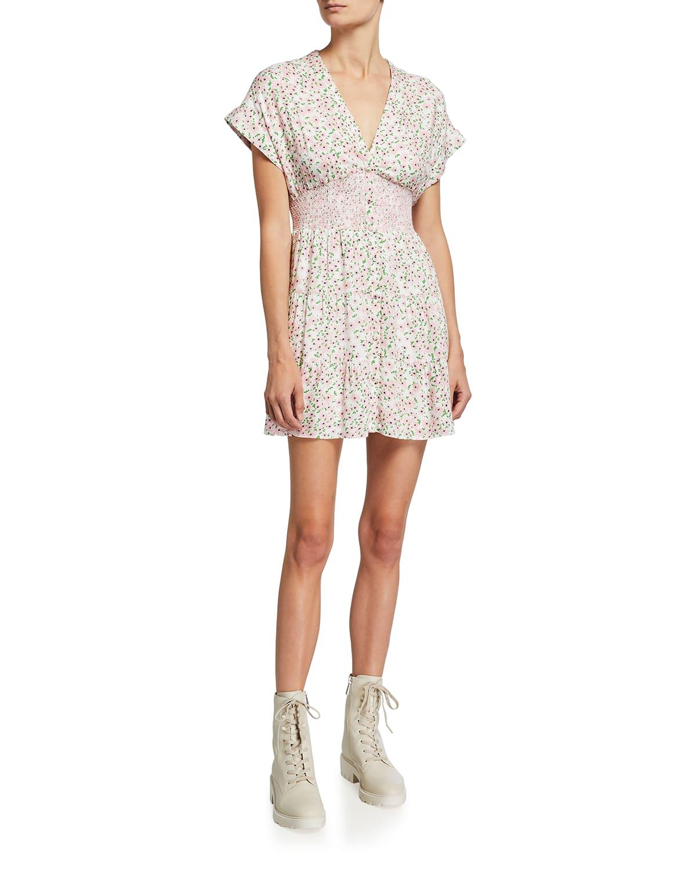 Keela Smocked-Waist Button-Front Dress