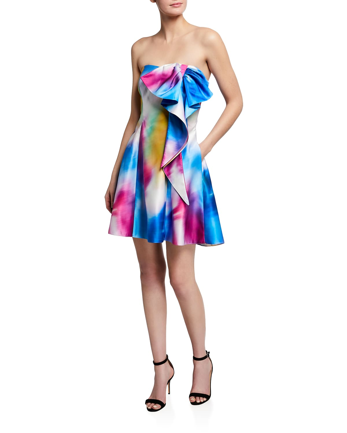 Bow Printed Strapless Dress